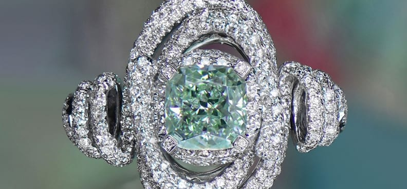Green Fancy Colored Diamond in ring